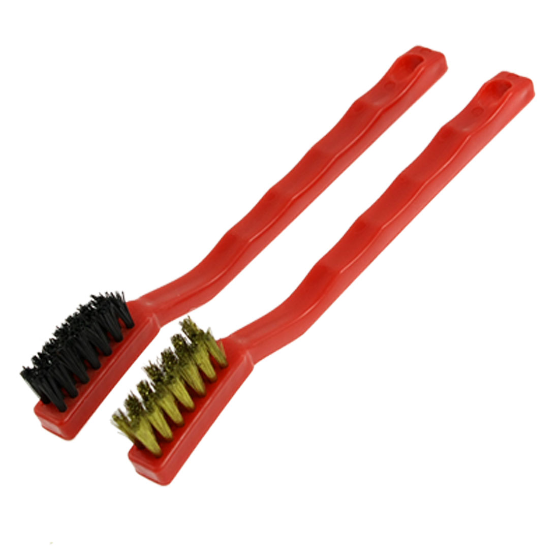Red Nonslip Handle Plastic Brass Wire Clean Brushes 2 Pcs