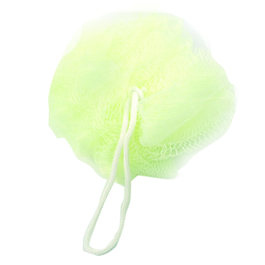 2 Pcs White Hoop Yellowgreen Soft Nylon Mesh Net Bath Ball Shower Pouf