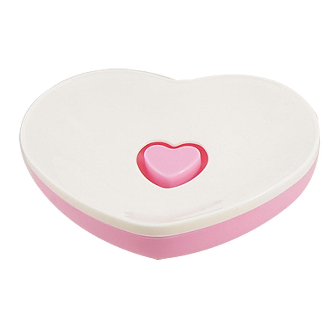 Bathroom Pink White Plastic Heart Shape Soap Dish Holder