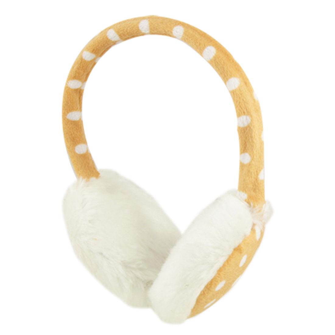 "Women 3.5"" Pad Dotted Plush Ear Cover Warmer Earmuffs White Khaki"