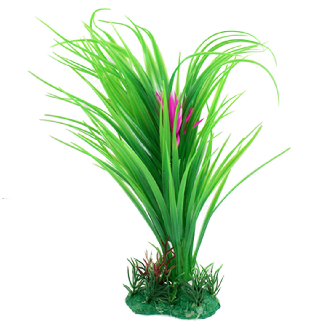 Artificial Pink Flower Green Grass Plant Ornament for Fish Tank