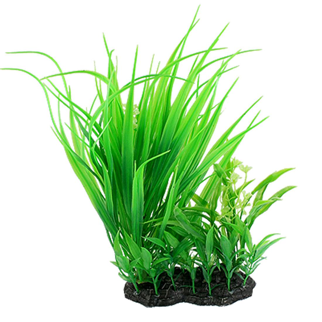 """11.6"""" Black Ceramic Base Green Lifelike Plant Decor for Fish Tank"""