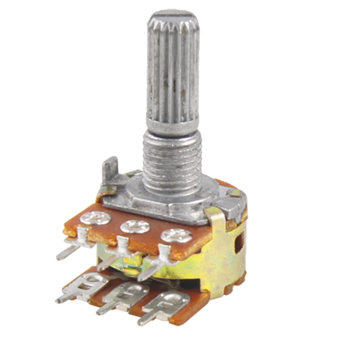 Linear Dual Split Shaft Rotary Taper Potentiometer 100K Ohm B100K