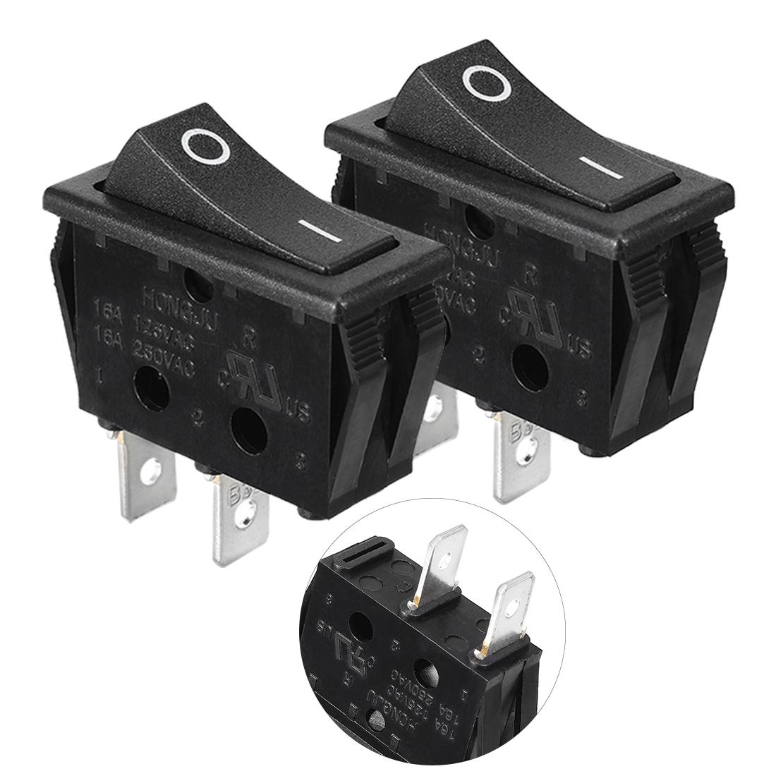 2pcs AC 16A/250V ON/OFF SPST 2P Snap in Rocker Switch Black