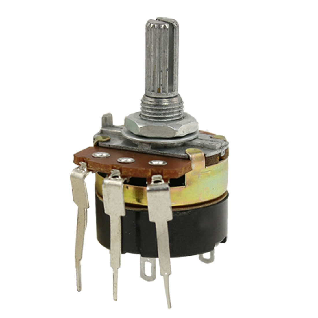 6mm Knurled Split Shaft Three Terminal 500K ohm Linear Taper Potentiometer B500K