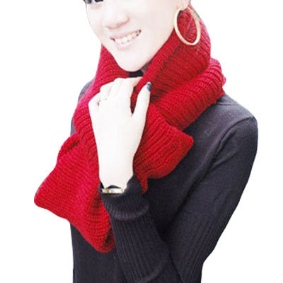 Scarves  Women Red Winter Warm Knitting Neck Circle Cowl Scarf Red Neck Scarves For Women