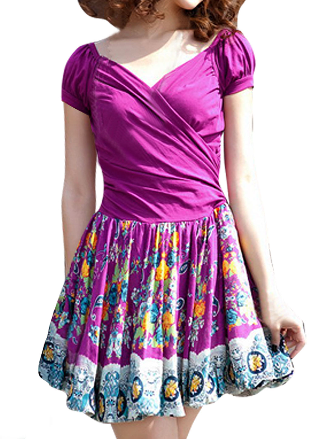 Women Crossover V Neck Floral Paisleys Prints Dress Purple XS