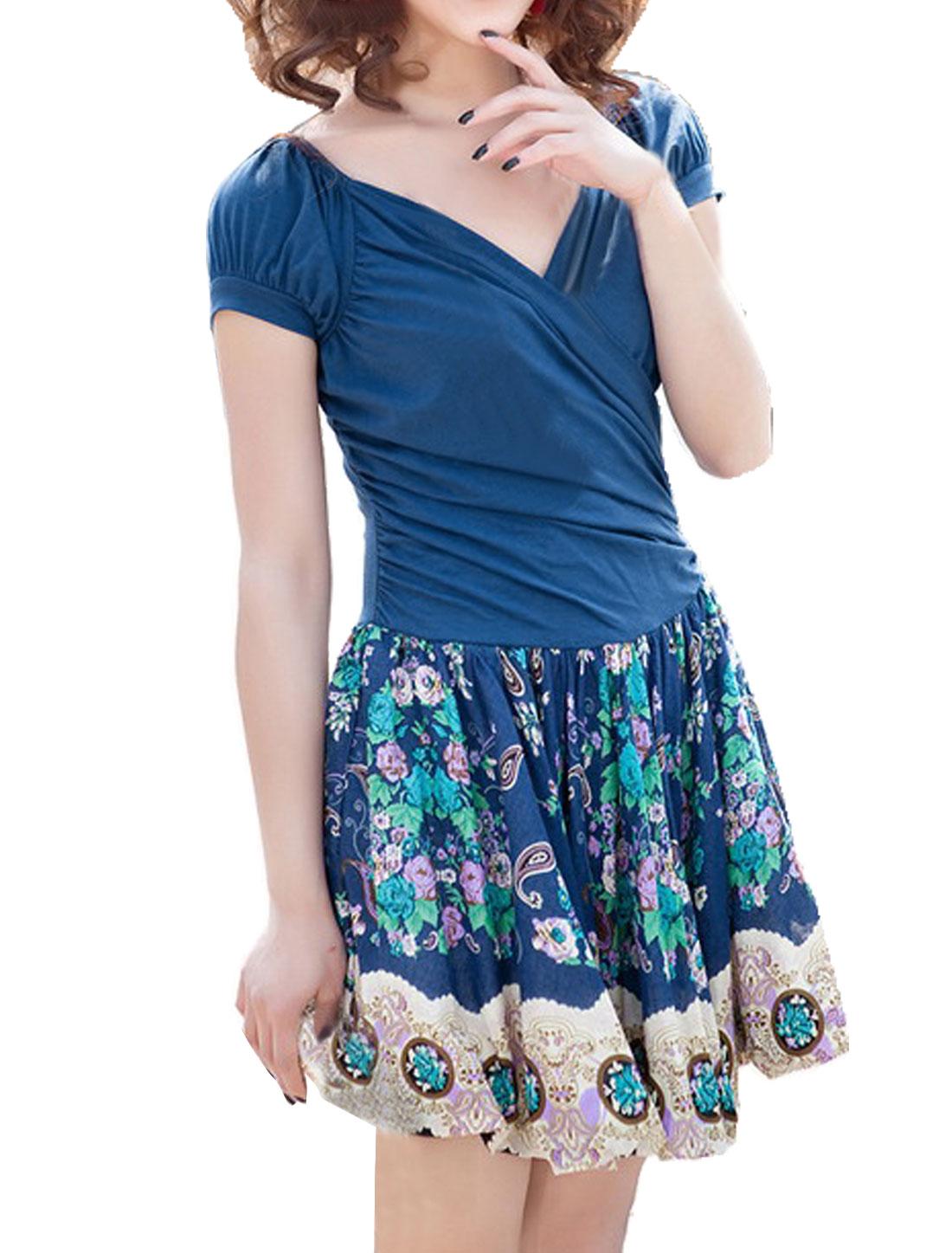 Women Crossover V Neck Floral Paisleys Prints Dress Blue XS