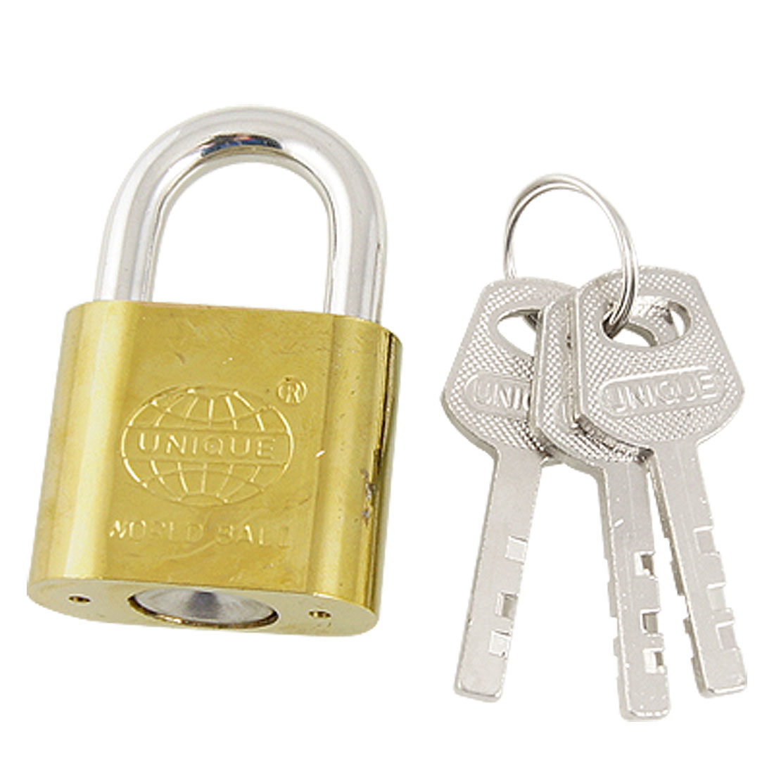 30mm Width Door Drawer Cabinet Safety Key Locking Padlock Lock Gold Tone