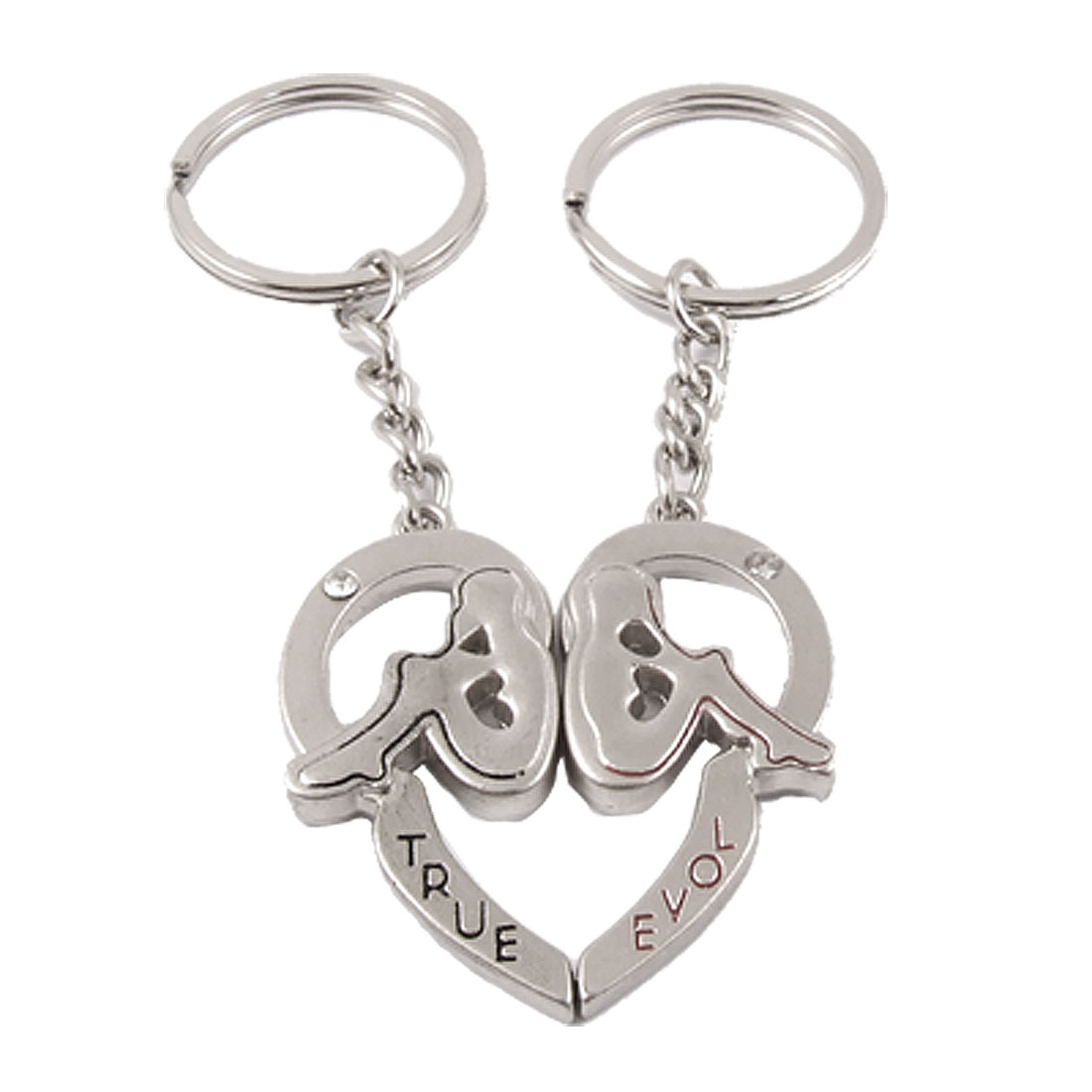 Lovers Rhinestone Accent Back to Back Heart Pendant Charms Keyring
