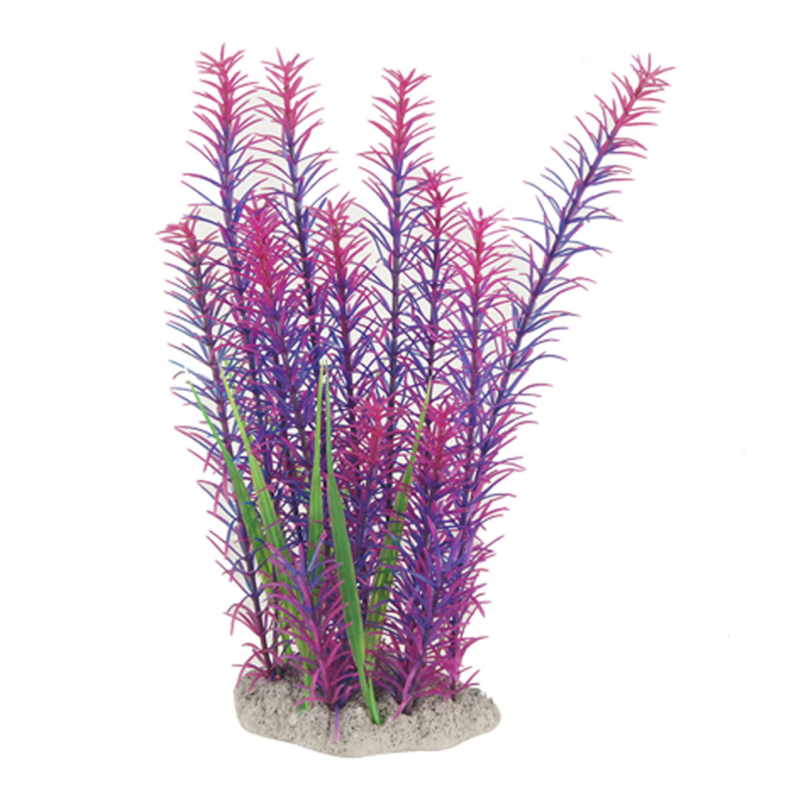 Fish Tank Landscaping Ceramic Base Purple Short Leaf Plastic Plant 10""