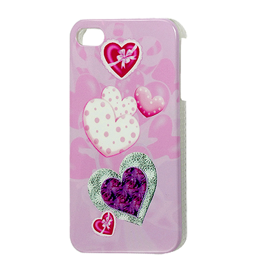 Colorful Hearts Print IMD Back Case Cover Shell for iPhone 4 4G 4S