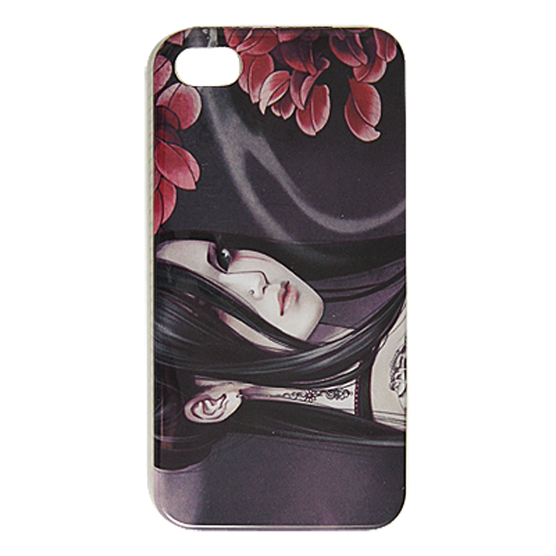 Chinese Cartoon Beauty Dark Purple Hard IMD Plastic Back Cover for iPhone 4 4G 4GS 4S