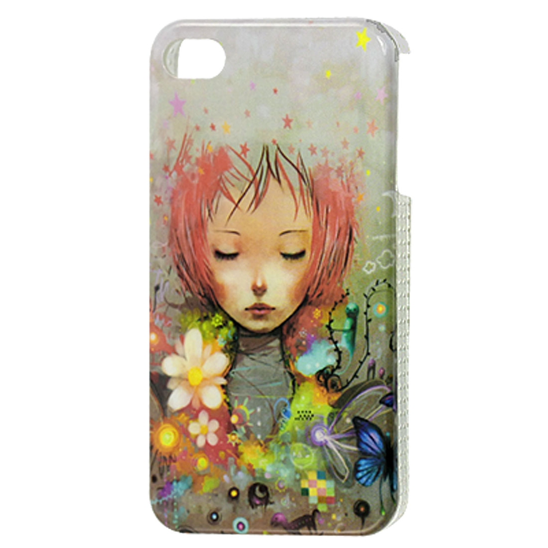 Cartoon Girl Flower Pattern Back Case Cover for iPhone 4 4G 4S