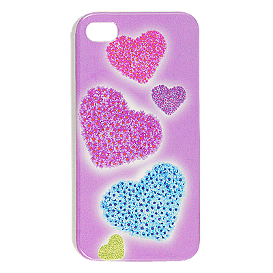Blue Heart Pattern IMD Hard Plastic Back Case for iPhone 4 4G 4S