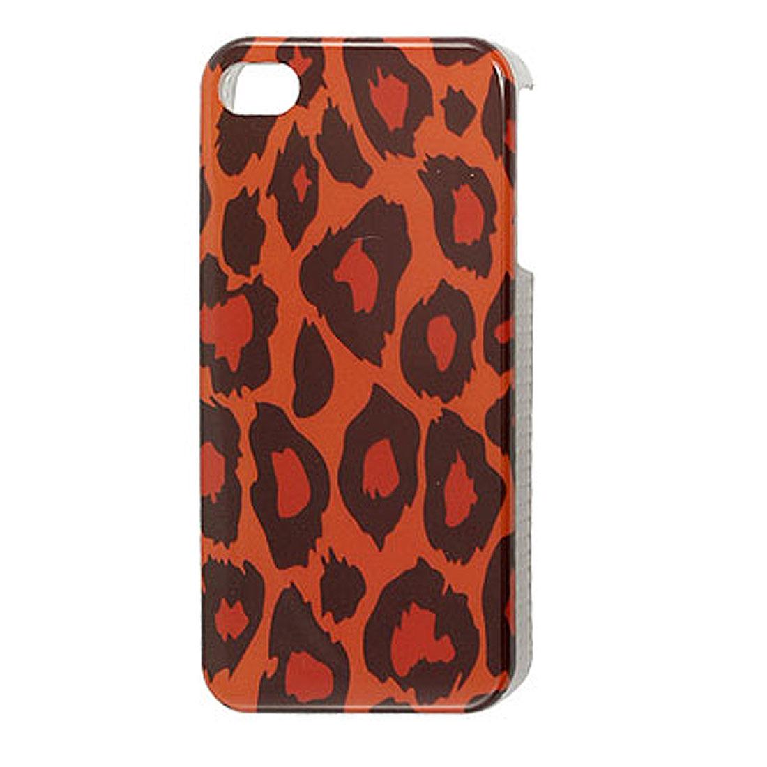 Black Leopard Pattern IMD Back Case Cover Orange for iPhone 4 4G 4S