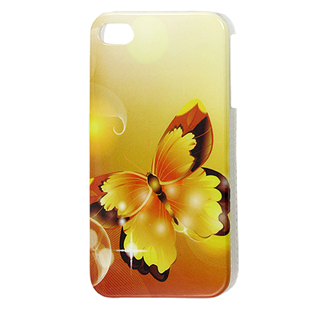 Butterfly Pattern Hard Plastic Back Case Yellow for iPhone 4 4G 4S