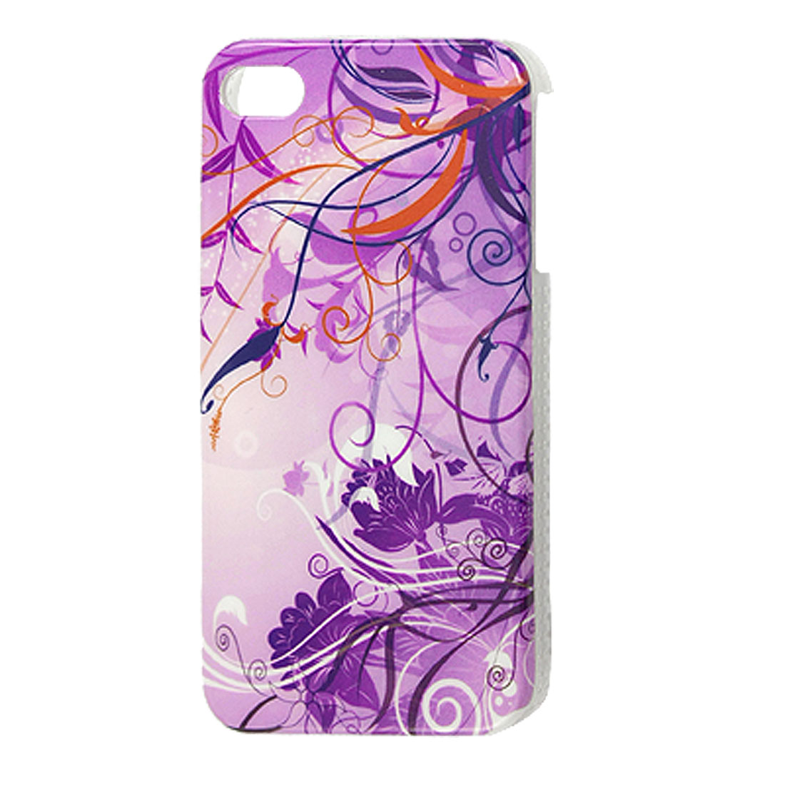 Hard Plastic Floral Back Case Cover Shell Purple for iPhone 4 4G 4S