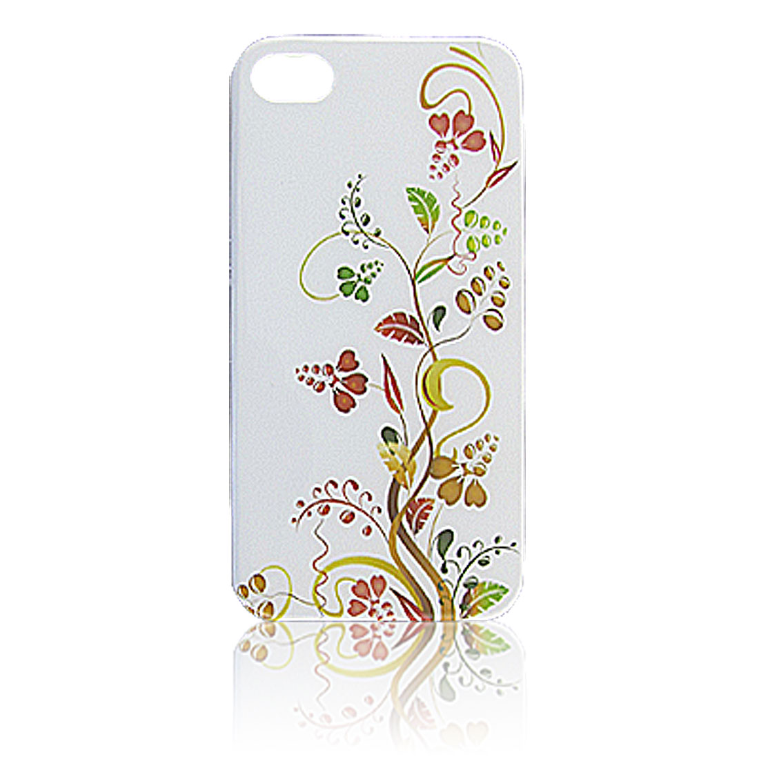 White Hard Plastic IMD Swirl Floral Shield Cover for iPhone 4 4G 4S