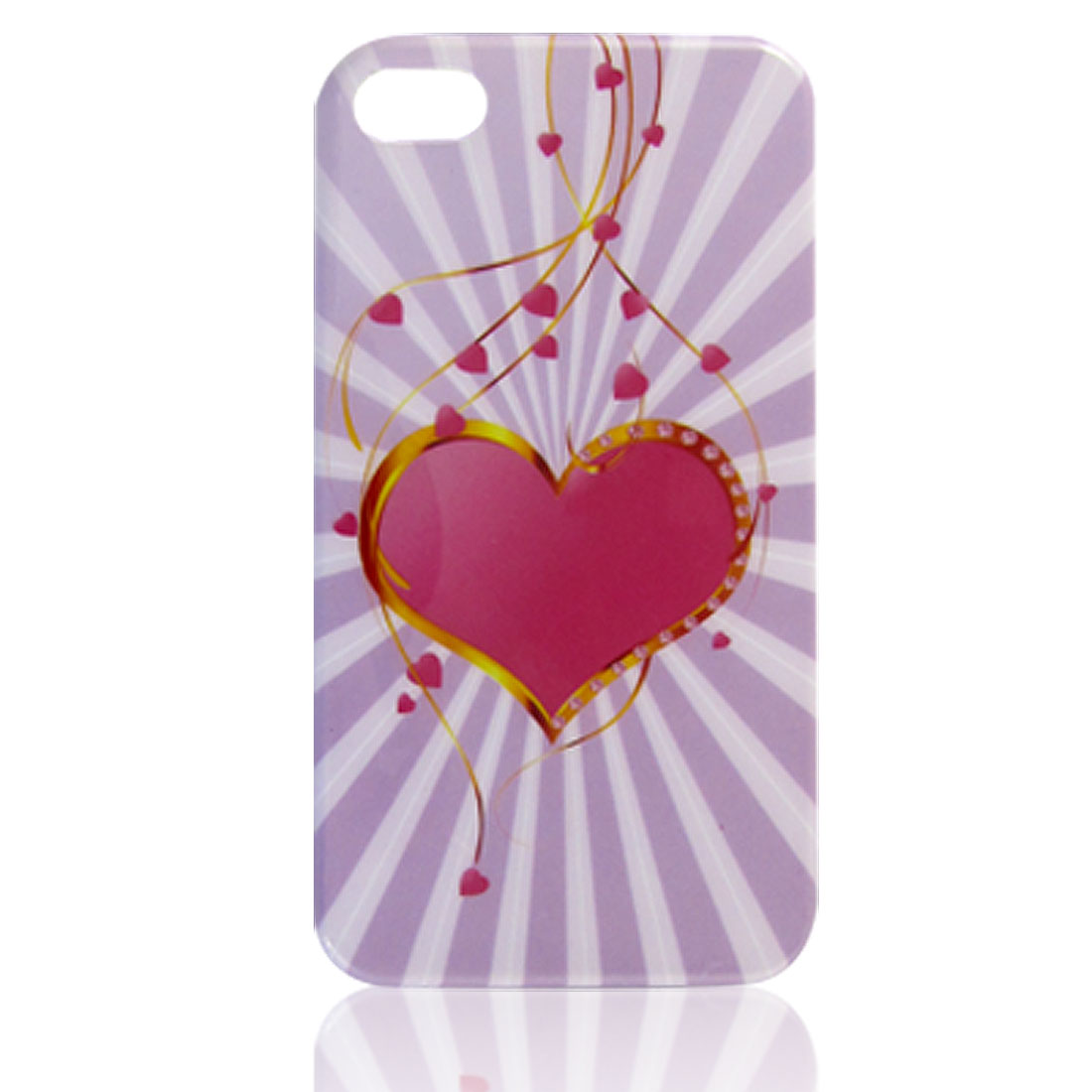 Fuchsia Heart Lilac Color Rays Pattern IMD Hard Plastic Back Case for iPhone 4 4G 4S