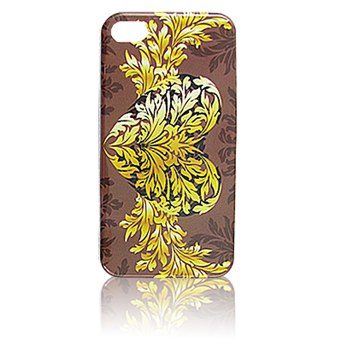 Yellow Leaves Heart Pattern Hard Plastic IMD Back Case for iPhone 4 4G 4S