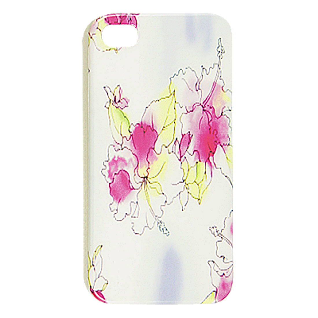 White IMD Hard Plastic Hibiscus Flower Pattern Back Case for iPhone 4 4G 4S