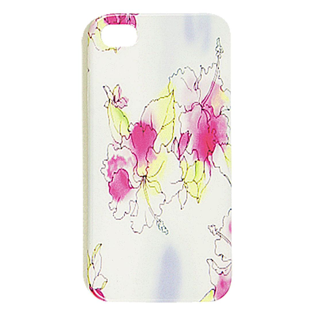 White IMD Hard Plastic Hibiscus Flower Pattern Back Case for iPhone 4 4G 4S