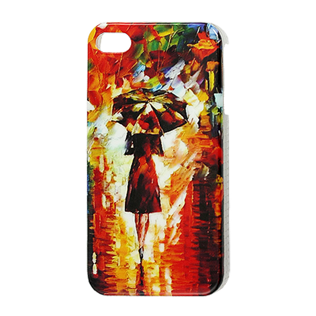 IMD Lady Walk in the Rain Pattern Plastic Back Cover for iPhone 4 4G 4S