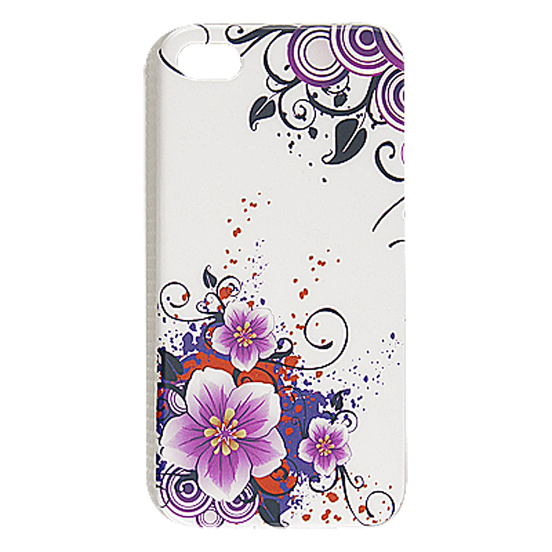 Purple Flower Hard Plastic IMD Back Case Shell for iPhone 4S