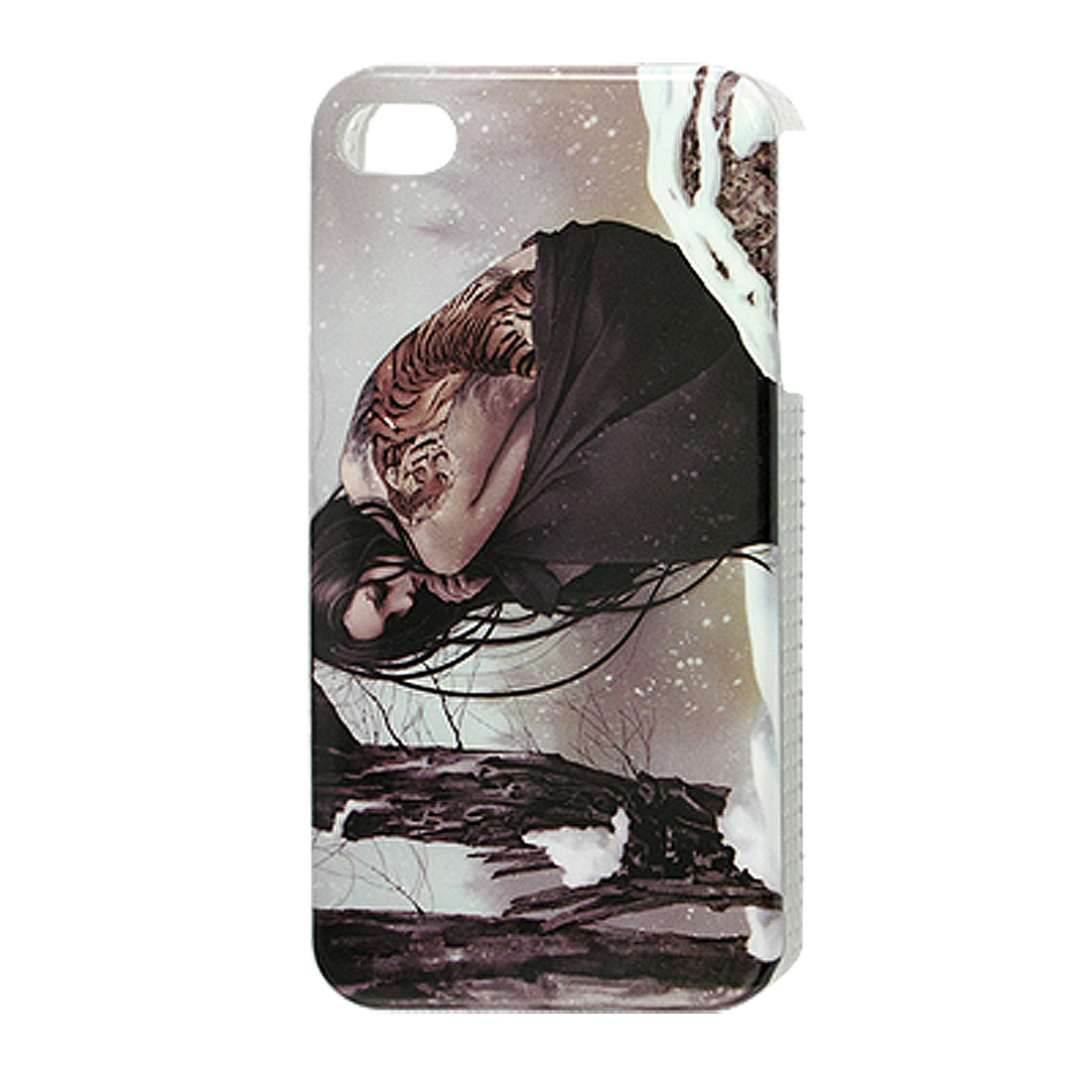 IMD Lady in the Snow Pattern Plastic Back Guard Case for iPhone 4 4G 4S