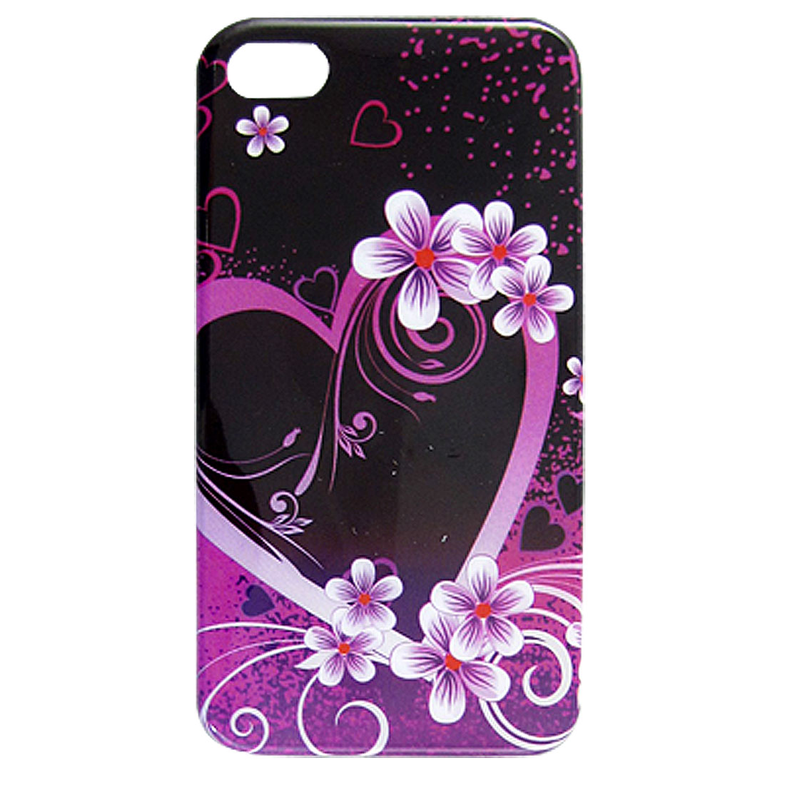 Fuchsia Heart Flower Print IMD Hard Plastic Back Case for iPhone 4 4G 4S