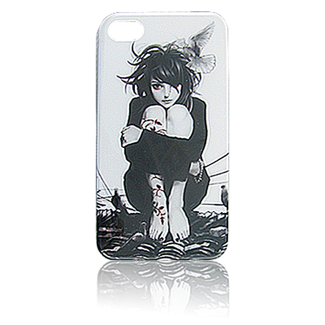 White Black Hard Plastic IMD Lady Print Back Case for iPhone 4 4S