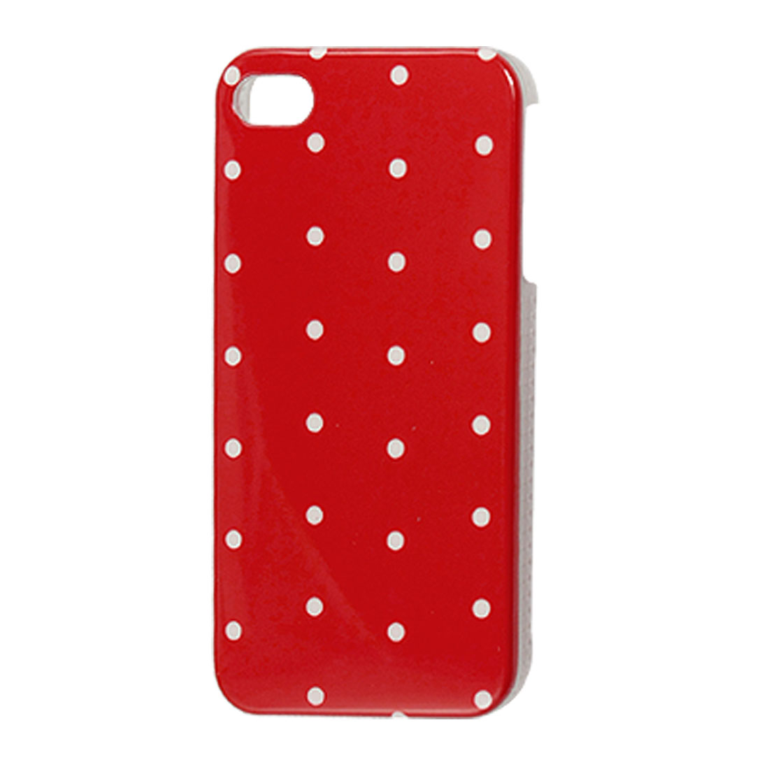 White Dot Pattern IMD Back Case Shell Red for iPhone 4 4G 4S