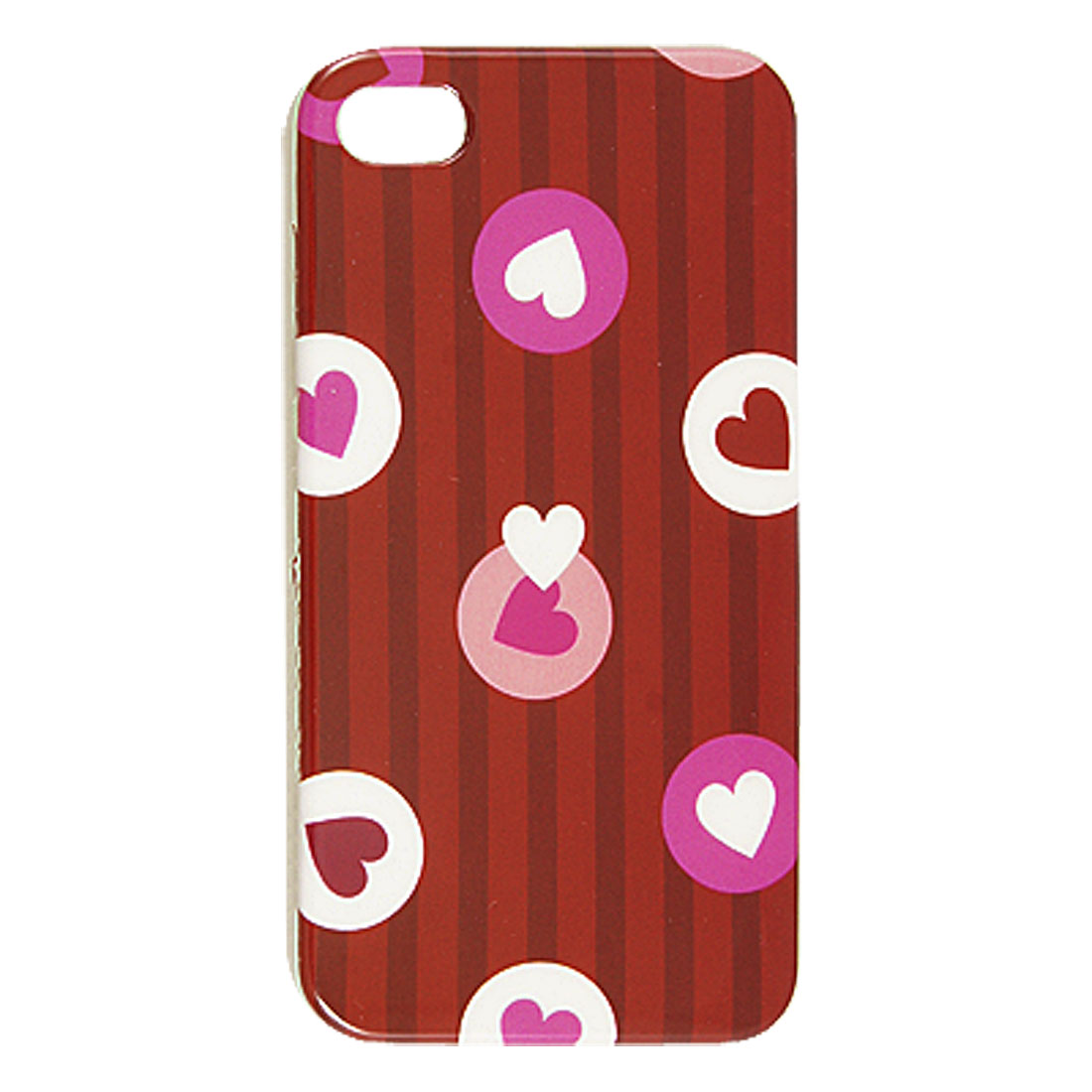 Heart Shape Pattern Red Hard Plastic IMD Back Case for iPhone 4 4G 4S
