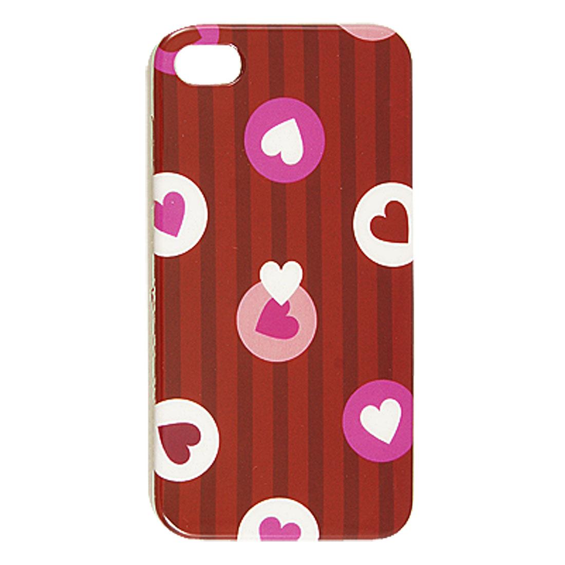 Heart Shape Pattern Red Hard Plastic IMD Back Case for iPhone 4 4G 4S