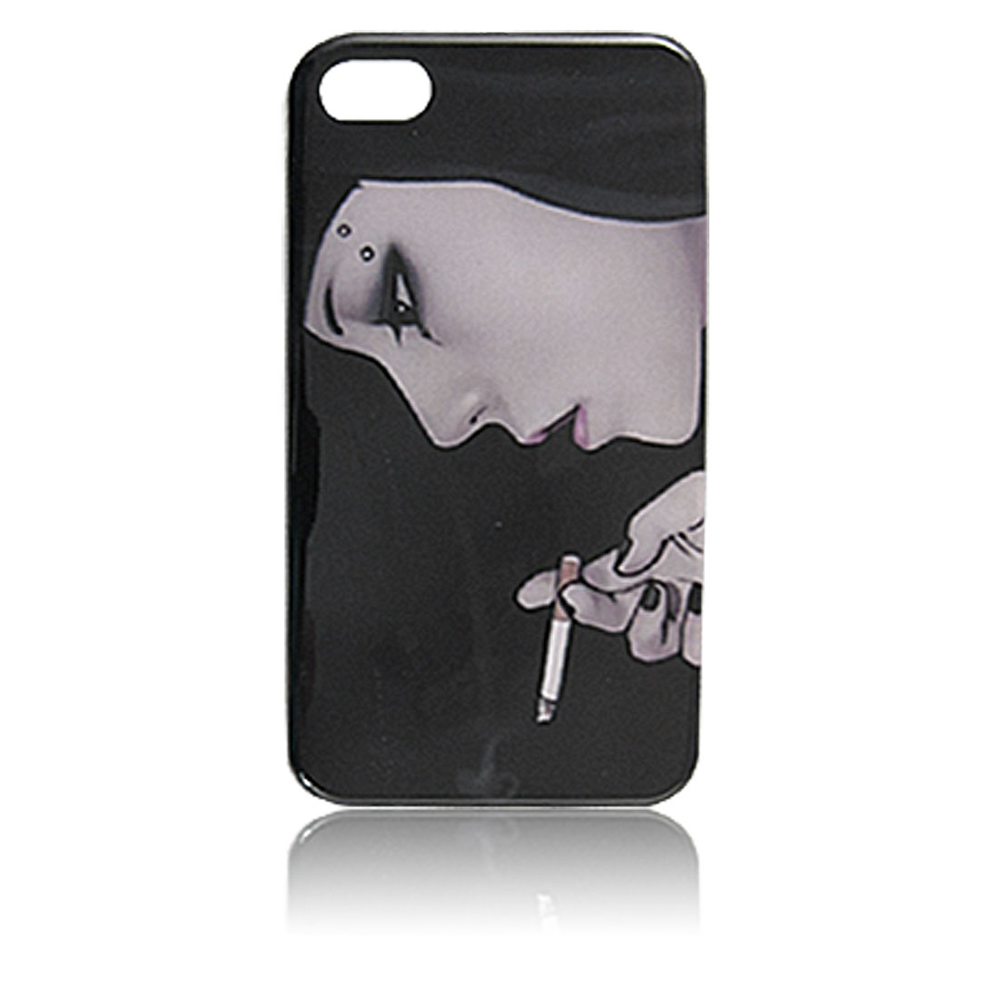 Cartoon Lady Printed Black Hard Plastic IMD Back Case Shell for iPhone 4 4G 4S