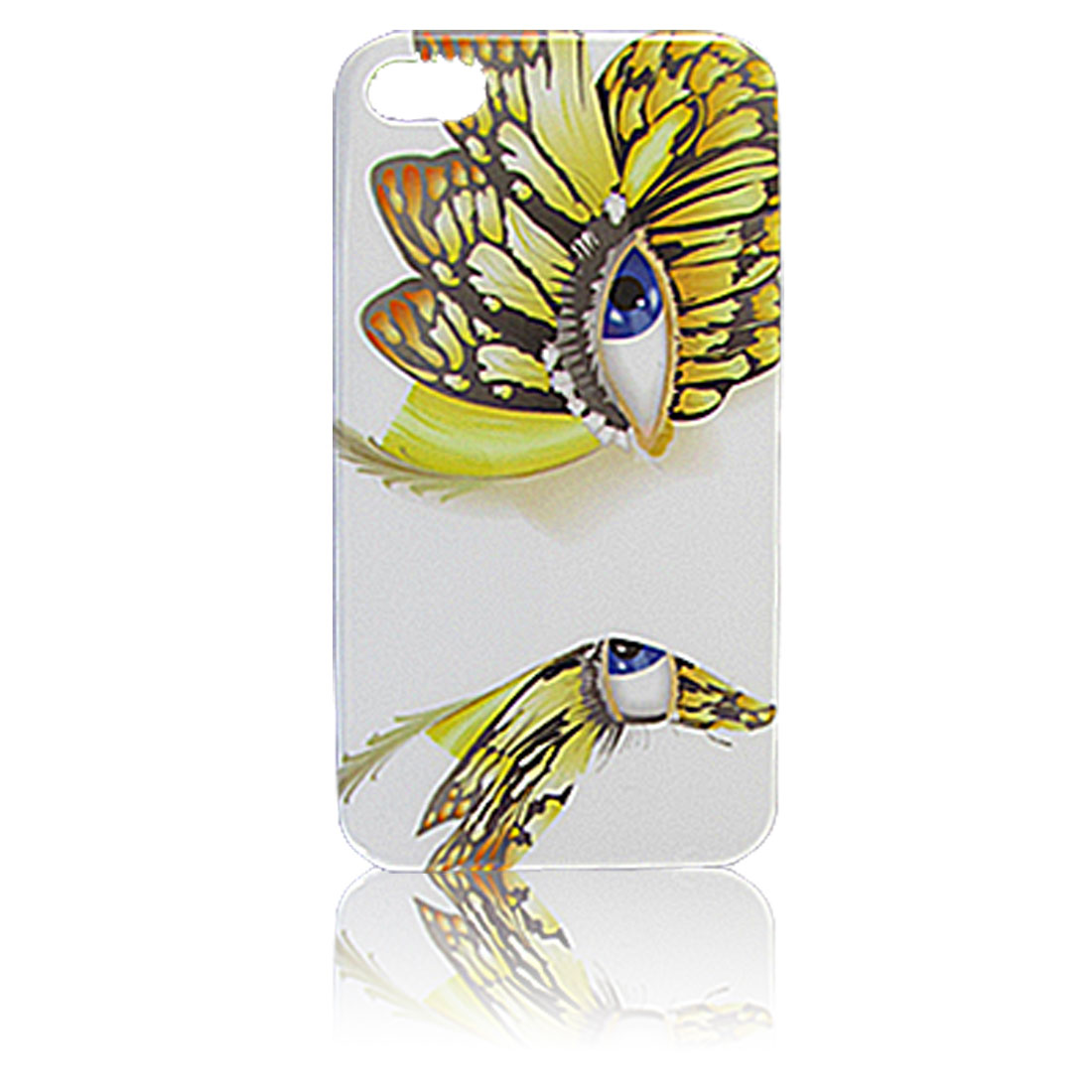 Hard Plastic IMD Yellow Butterfly Printed White Back Case Protector for iPhone 4 4G 4S 4GS