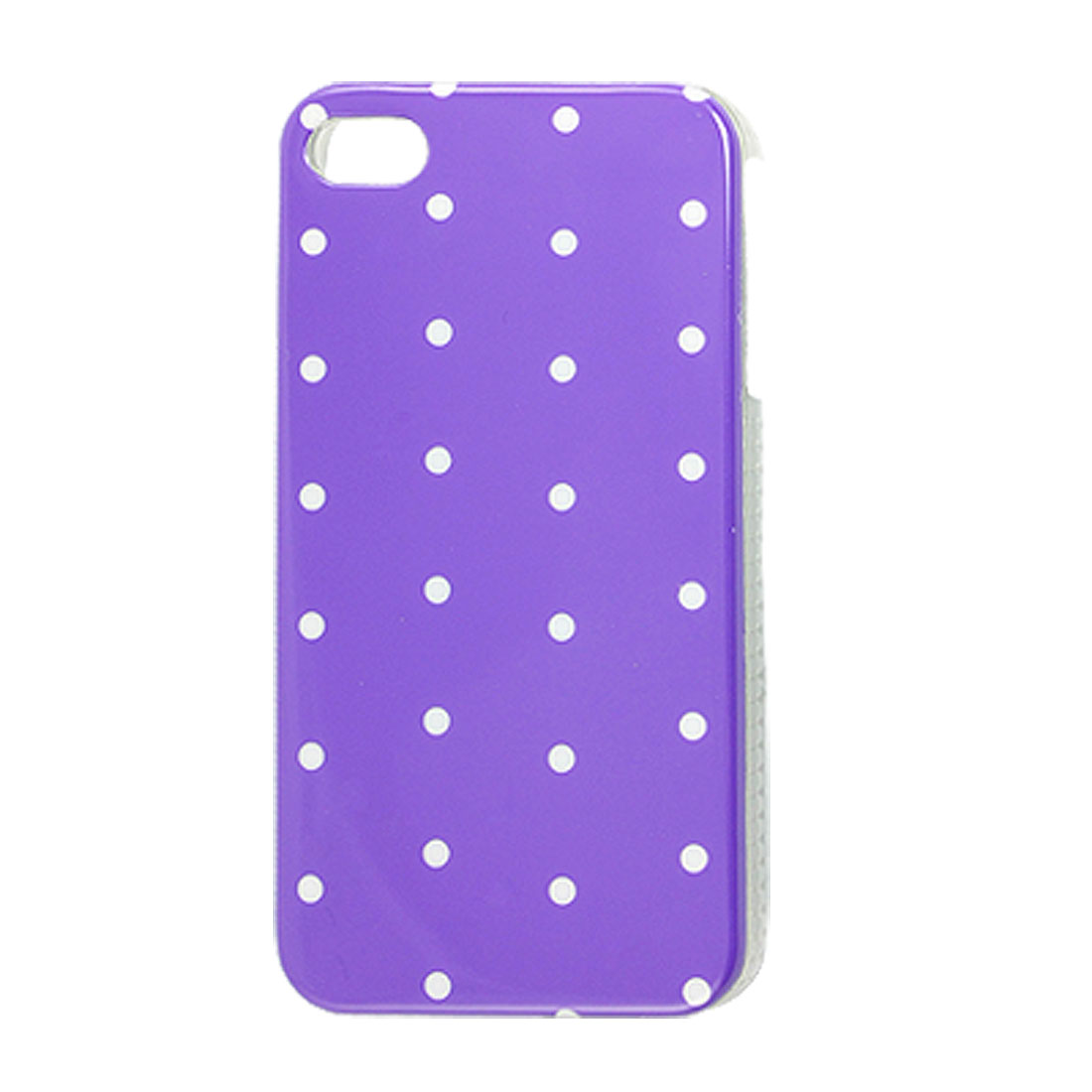 IMD White Dots Printed Purple Plastic Back Cover for iPhone 4 4G 4S
