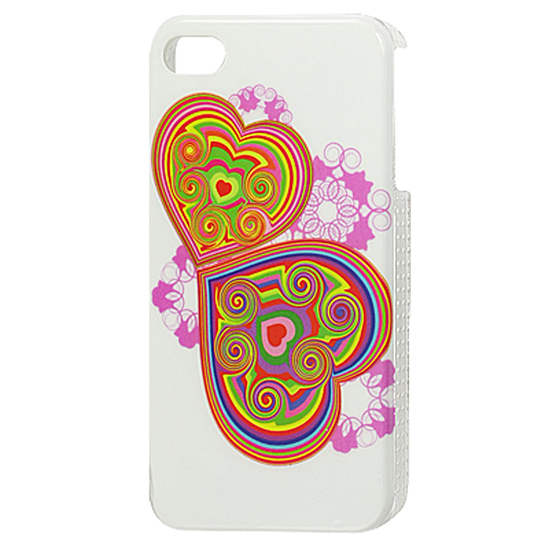 IMD Double Heart Print Plastic Back Case Shell White for iPhone 4 4G 4S