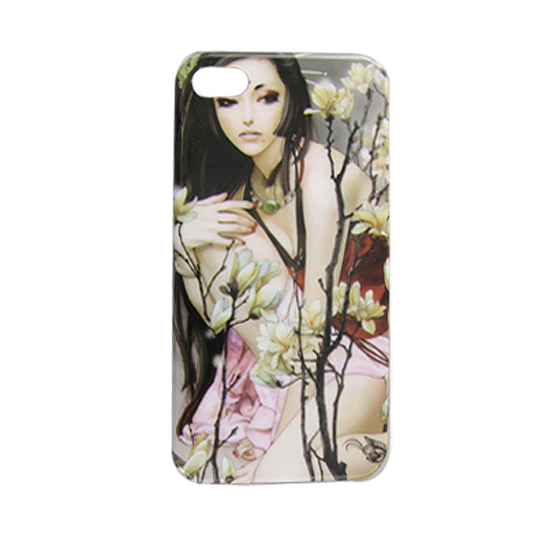 Colorful Sexy Lady Floral Decor IMD Protective Hard Back Case Shell for iPhone 4S 4GS