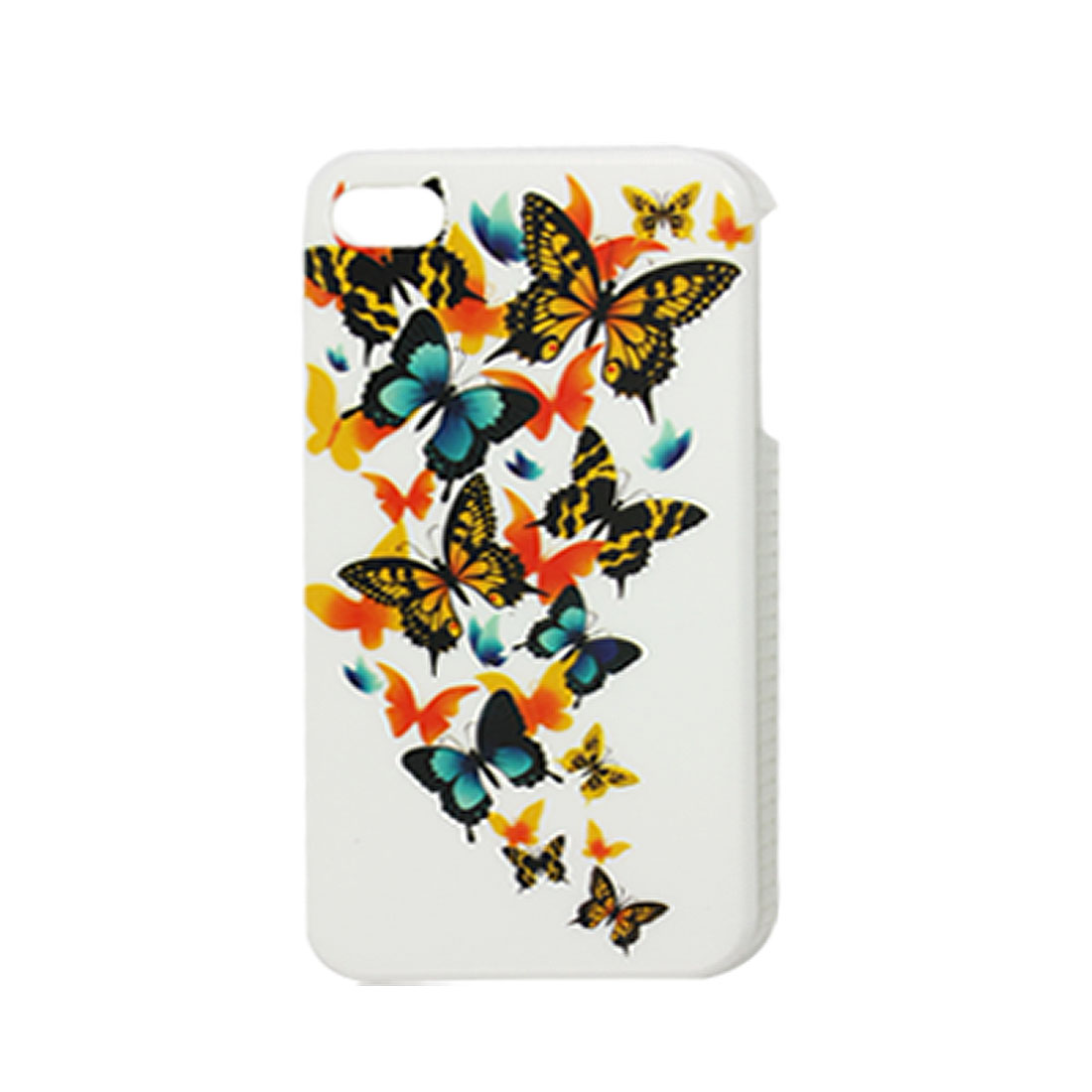 IMD Multi Butterfly Printed White Plastic Back Cover for iPhone 4 4G 4S