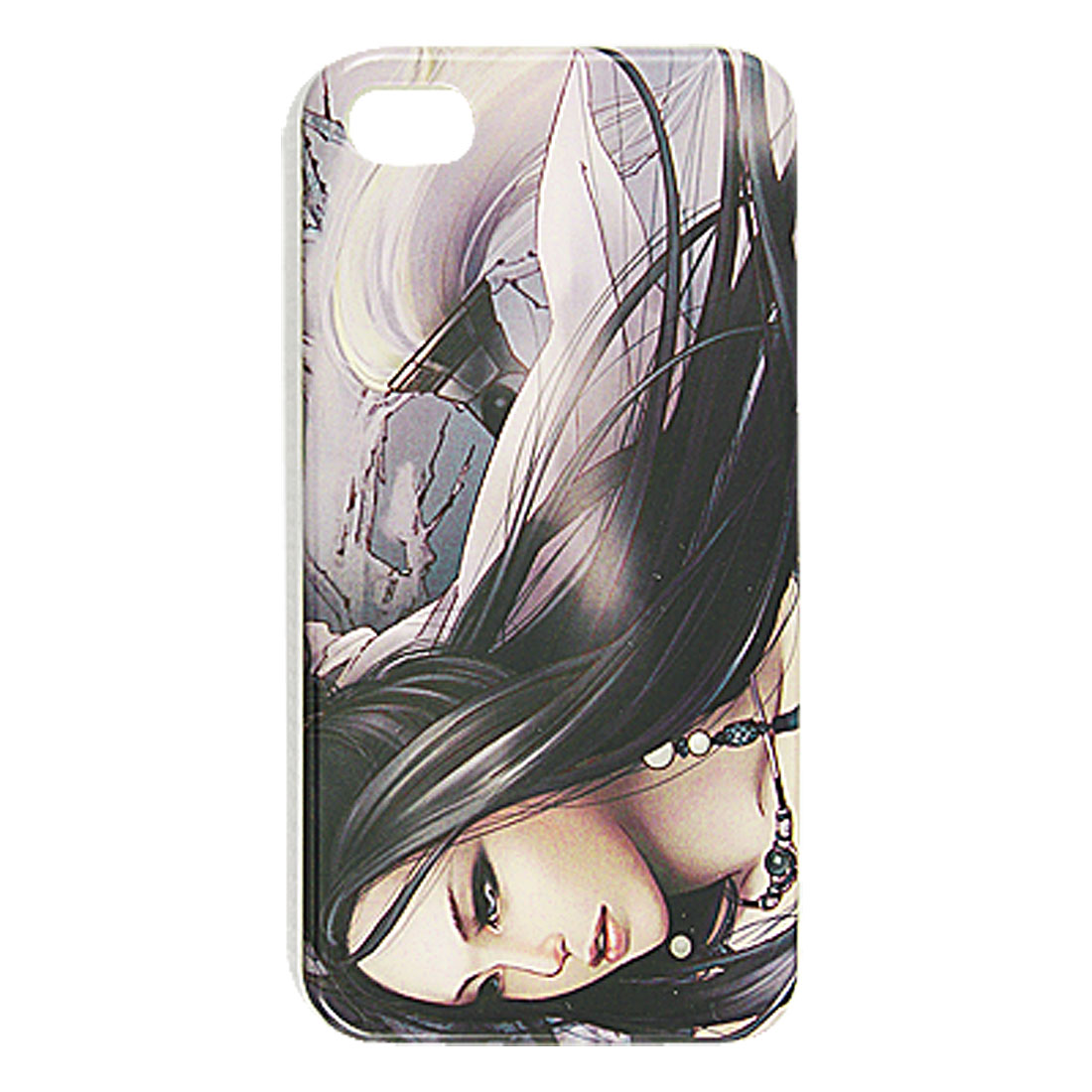 Long Hair Cartoon Girl Print IMD Hard Plastic Back Case for iPhone 4 4G 4S