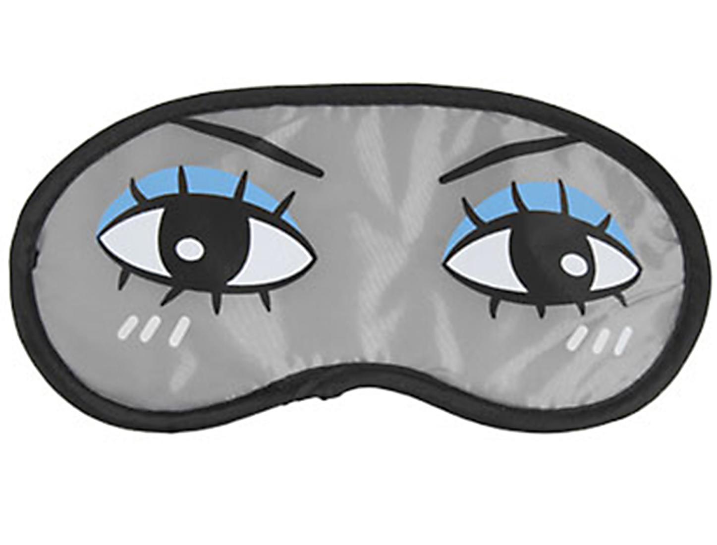 2 Pcs Carton Tearful Eyes Print Blue Eye Shadow Sleeping Eye Mask Cover Eyeshade Grey