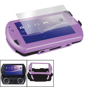 Black Flannel Lining Purple Aluminum Case + Screen Protector for Sony PSP Go
