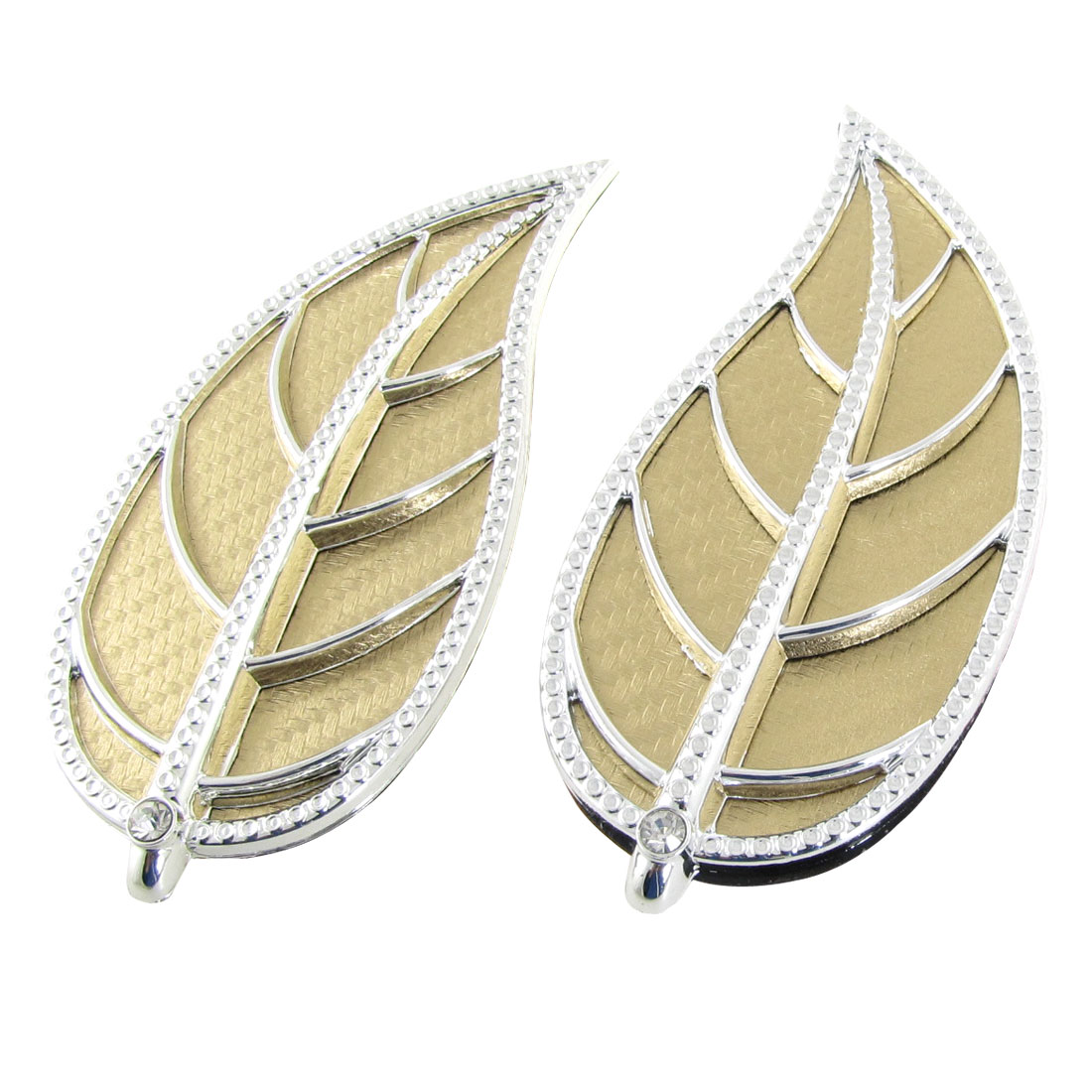 2 Pcs Gold Tone Leaf Shape Air Flow Fender 3D Sticker for Car Decoration
