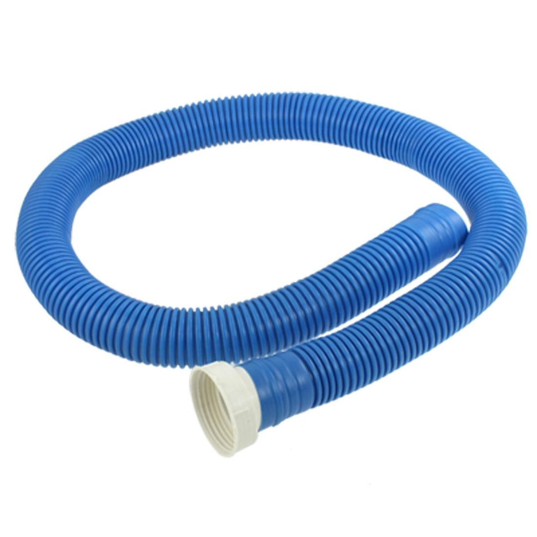 "Blue Plastic 1 3/5"" Diameter Threaded Extensible Flexible Water Drain Hose"