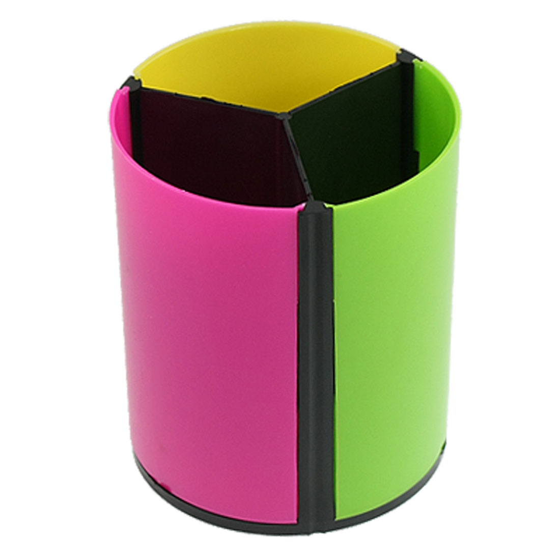 Yellow Green Fuchsia Plastic Cylinder Shaped Pen Ruler Holder Organizer