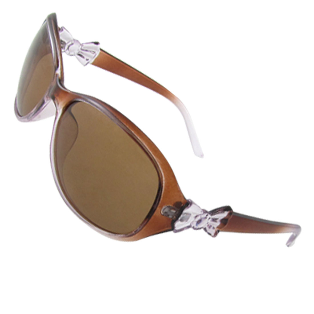 Bowknot Temple Brown Plastic Frame Polarized Sunglasses for Lady