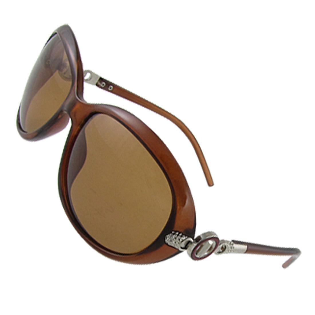 Women Brown Plastic Full Rim Driving Polarized Sunglasses w Pouch