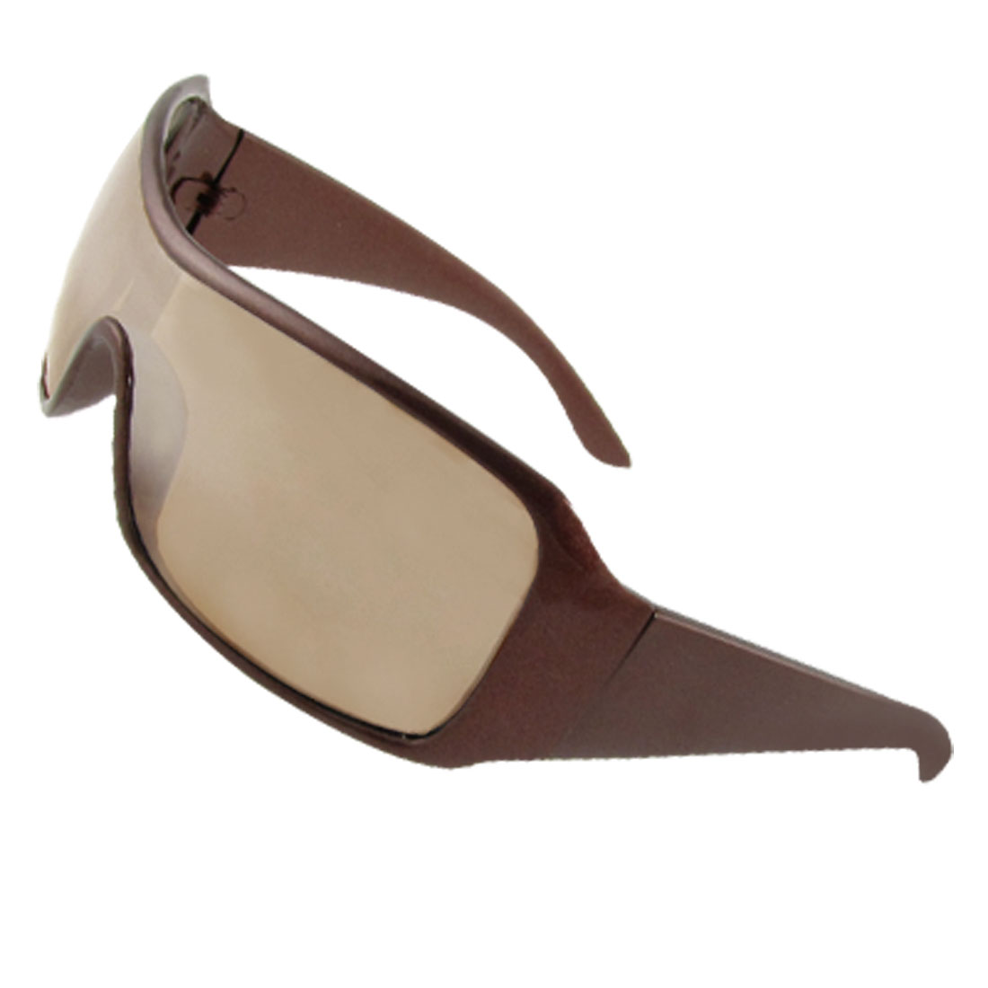Men One Piece Mirror Lens Brown Plastic Full Rim Sunglasses